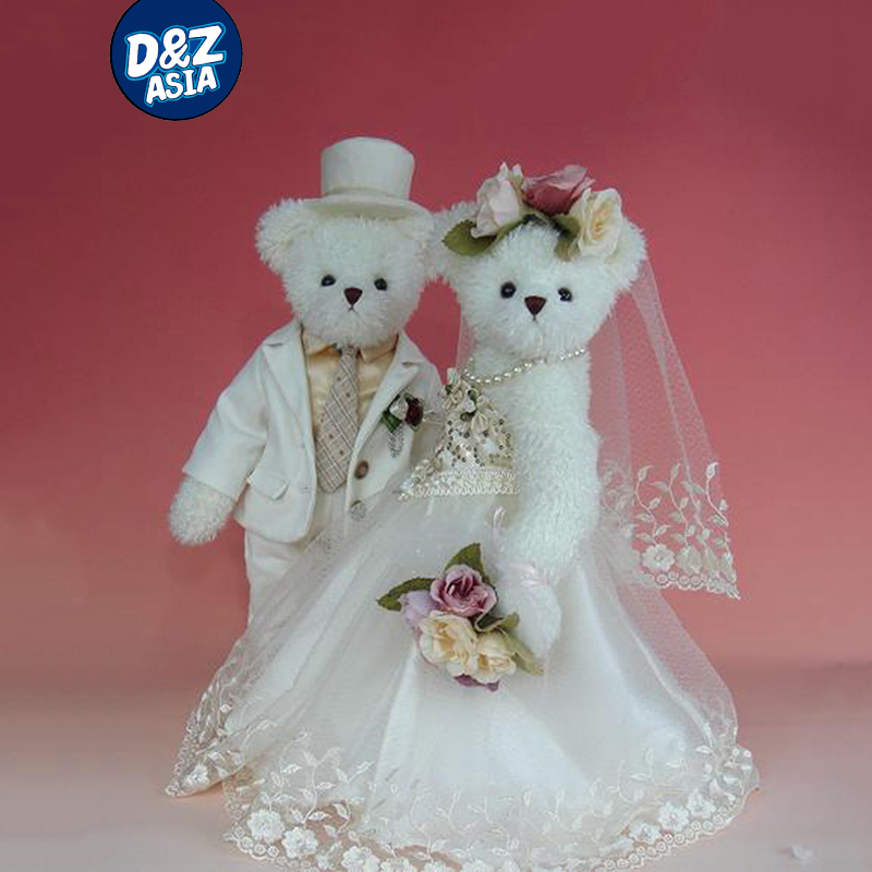 Kawaii plush stuffed animal teddy bear lovely wedding couple bear teddy wedding gift doll dress(China (Mainland))