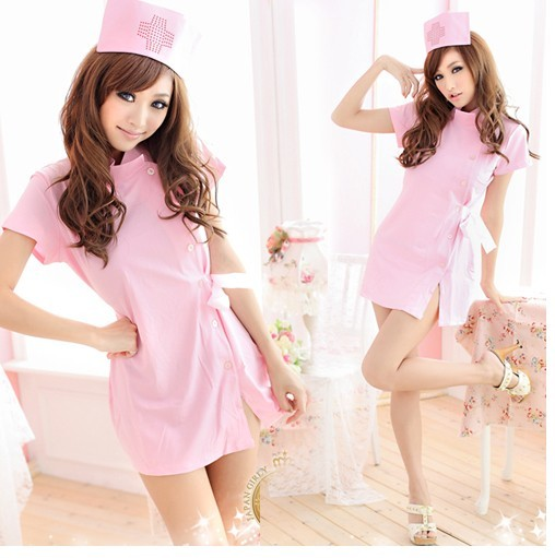 nursing scrubs summer 2014 white pink nurse medical uniforms sexy tight-fitting one-piece clothing(China (Mainland))