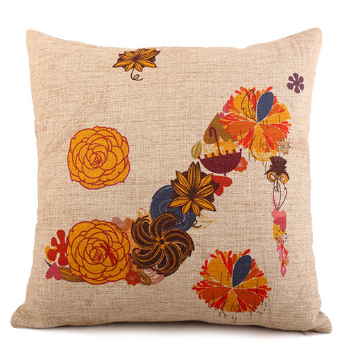 Japanese Style Yellow Flower Highheel Linen Cotton Sofa Decorative Bedding Seat Chair Cushion Pillow Covers Square Home Textile(China (Mainland))