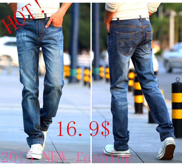 HOT 2015 new brand pants,Leisure&Casual pants, Newly Style Zipper fly Straight Cotton Men Jeans trousers men clothing trousers(China (Mainland))