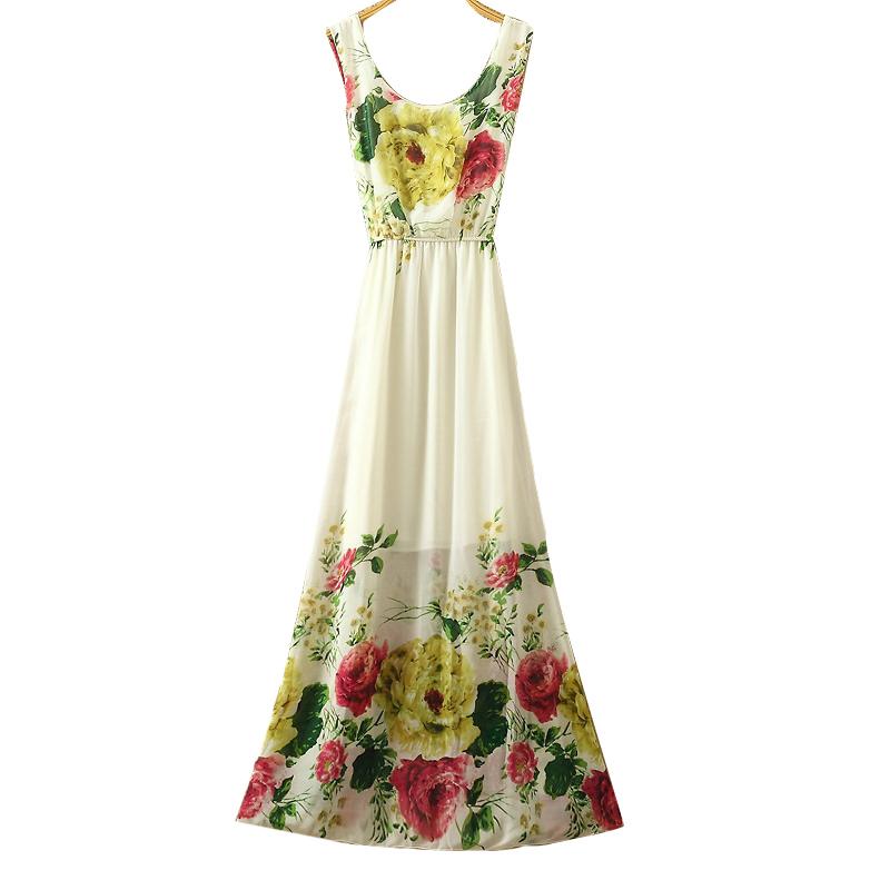 Dress Summer 2017 long-dress-chiffon women floar print maxi dress beach o neck cheap clothes china high quality dresses(China (Mainland))