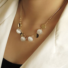 Fashion Bohemia Opal Necklaces&Pendants,White Jade Pulp Pendant 18K Gold Plated Female Sweater Chain Length 40cm=16Inch #N459(China (Mainland))