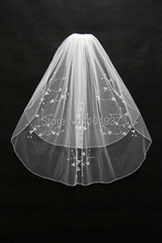 2015 veil of bride new luxury white bead two-layers short wedding veils with crystal bridal veil veu de noiva CPA025(China (Mainland))