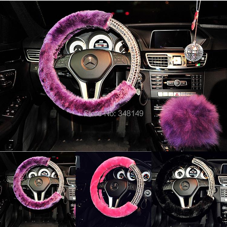 Искусственный мех флэш алмаз машина руль крышка крышка рулевого колеса концентраторы салон автомобиля поставки четыре сезона вообще