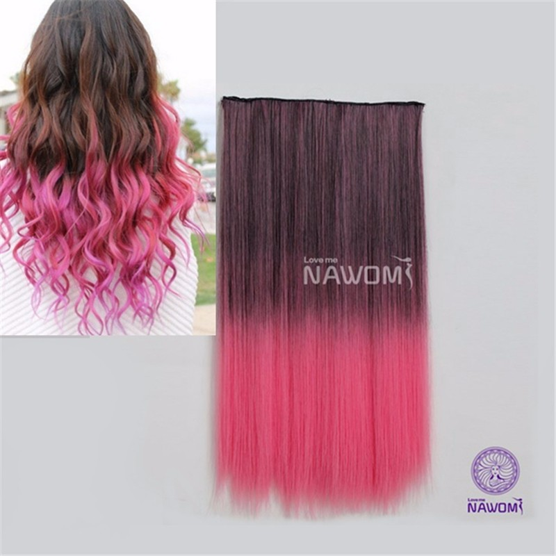 2015 Long Straight Women Synthetic Colorful Hair Extension 1Pc 5 Clips In Ombre Black Pink Colored Clip-in On HairPiece NAWOMI(China (Mainland))