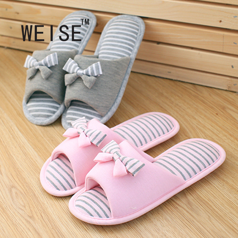 WEISE New Spring And Summer Sweet Striped Bow Fish Head Home Slippers Floor Drag Heavy-Bottomed Non-Slip Cotton Women Slippers(China (Mainland))