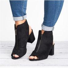 Yeni yarım çizmeler Faux Süet Deri Rahat Açık Peep Toe Yüksek Topuklu Fermuar Moda kare kauçuk siyah ayakkabı Kadınlar Için Boyutu 34- 43(China)
