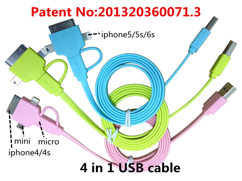 4 in 1 usb cable Charging and data sync Applicable to riphonee mini usb apple lightninge cable remax powerbank microusb m2 mini(China (Mainland))
