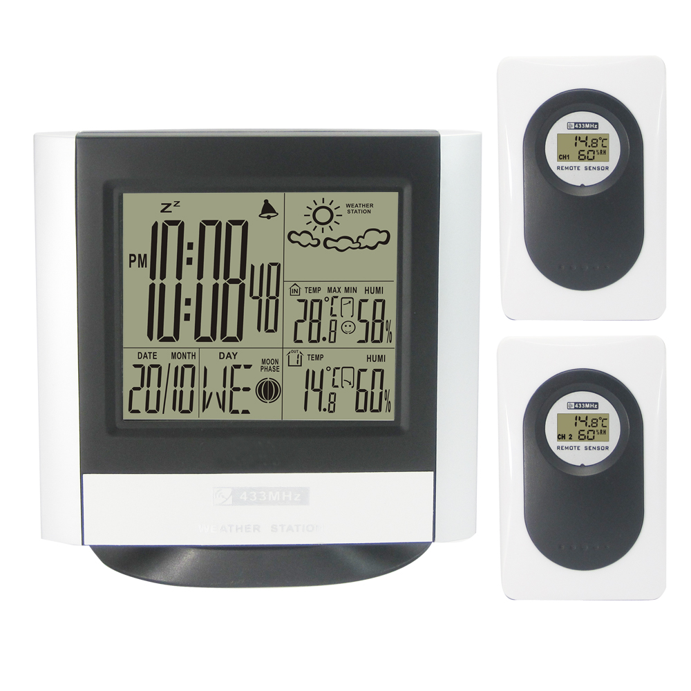 433MHz Wireless Weather Station Kit with Indoor Outdoor Digital Thermometer Hygrometet Weather Forecast Clock 2 Transmitters