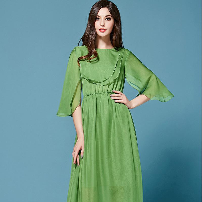 Brand Dress Free Shipping 2015 New Runway Style Petal Sleeve Green Flowing Ruffle Chiffon Maxi Beach Dress For Summer(China (Mainland))