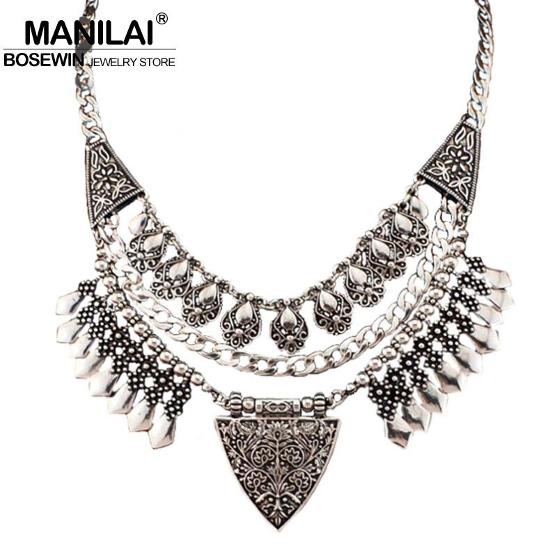 MANILAI Bohemia Design Fashion Necklaces Women 2017 Vintage Carving Alloy Choker Statement Necklaces & Pendants Collares