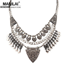 Buy MANILAI Bohemia Design Fashion Necklaces Women 2017 Vintage Carving Alloy Choker Statement Necklaces & Pendants Collares for $4.54 in AliExpress store