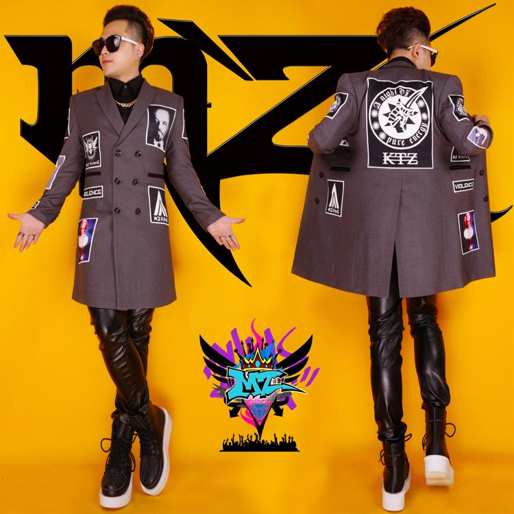 2016 men long blazer jacket male costume DJ dancer singer performance outwear coat nightclub party bar prom show cool(China (Mainland))