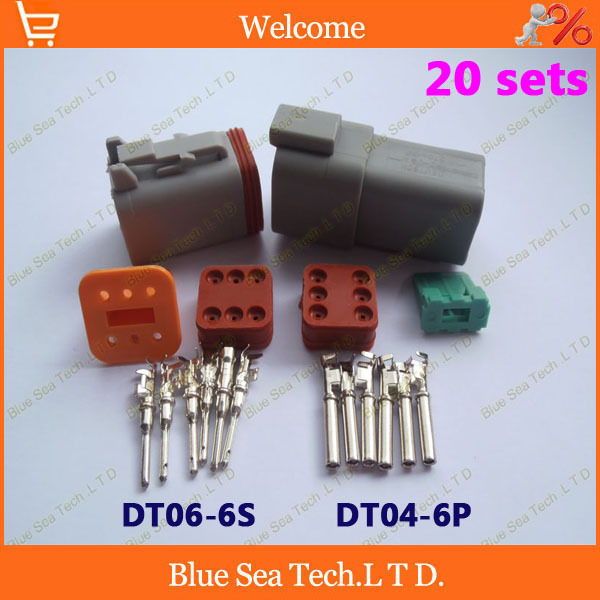 20 sets Deutsch DT06-6S and DT04-6P 6Pin Engine waterproof electrical connector for car,bus,motorcycle,truck,boats,etc.(China (Mainland))