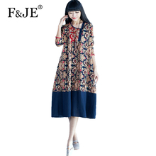Buy F&je New 2017 Spring Women's Large Size Cotton Stitching Retro Print Dress Femme Casual Loose Clothing Plus Size Dresses J272 for $19.19 in AliExpress store