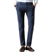 2016 New Brand Men's Pants Fashion Plaid Cotton Straight Dress Pant Men Casual Slim Fit Suit Pants Long Trousers Blue/Black