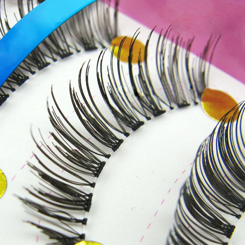 10 Pairs Handcraft Reusable Thick Wispies Natural False Eyelashes with Transparent Stems Make up Eyelash Extensions Eye Lashes(China (Mainland))