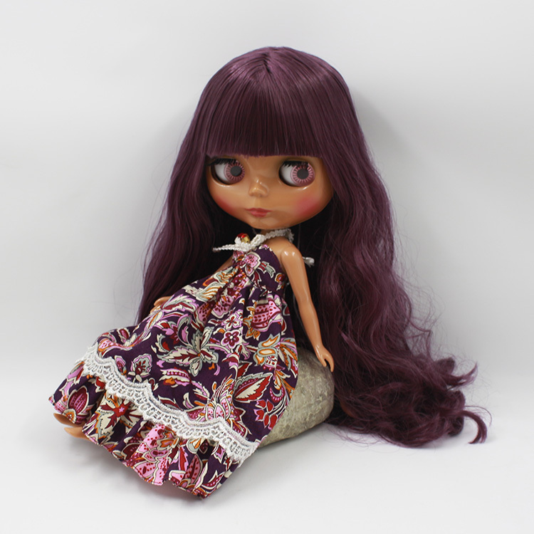 Free shipping Nude Doll For Series No.280BL135 Doll purple  hair Black Skin Suitable For DIY Change BJD Toy For Girls<br>