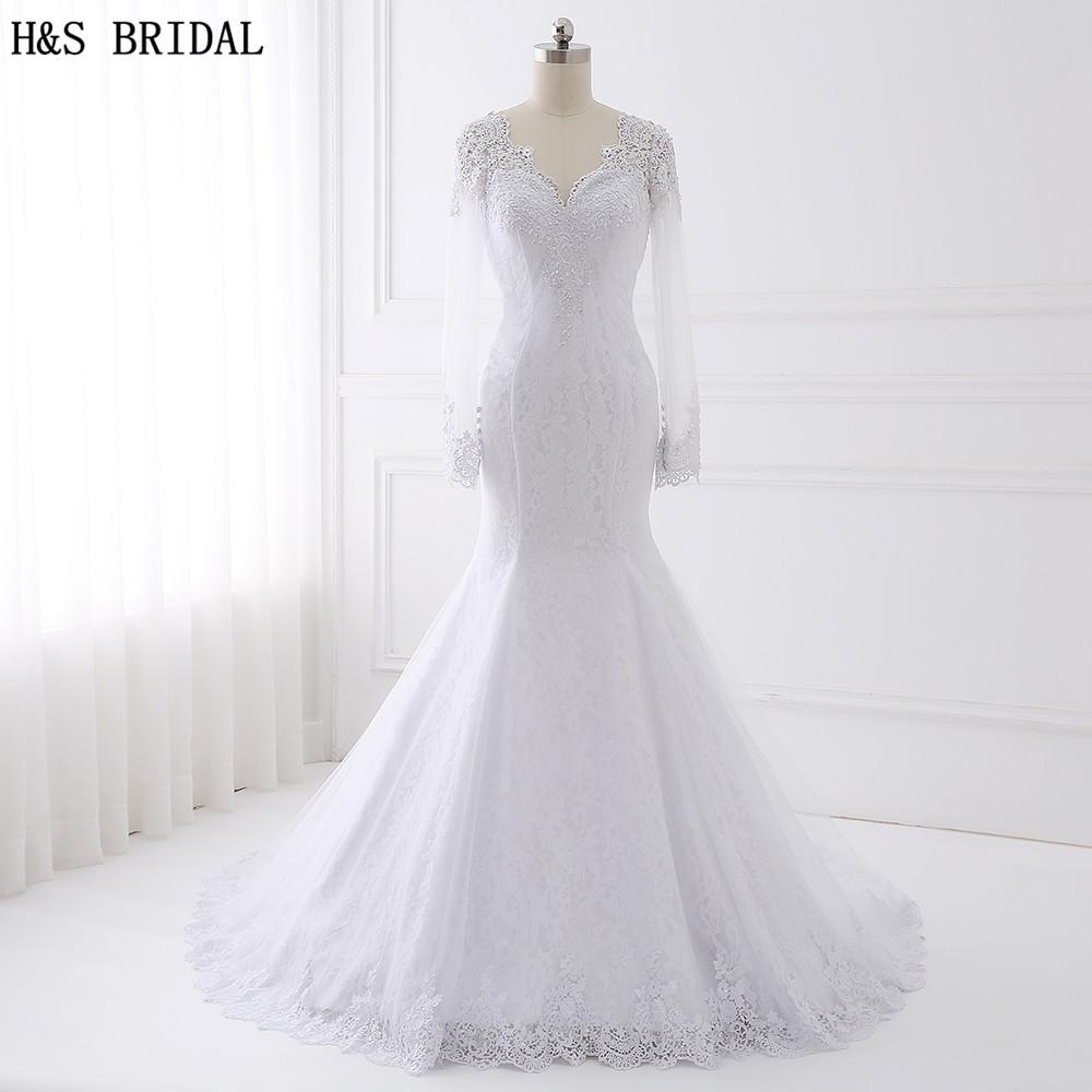 H&S BRIDAL Long Sleeve Lace Wedding Dress 2017 Beaded Wedding Dresses Turkey V Neck Mermaid Wedding Dresses Vestido De Noiva