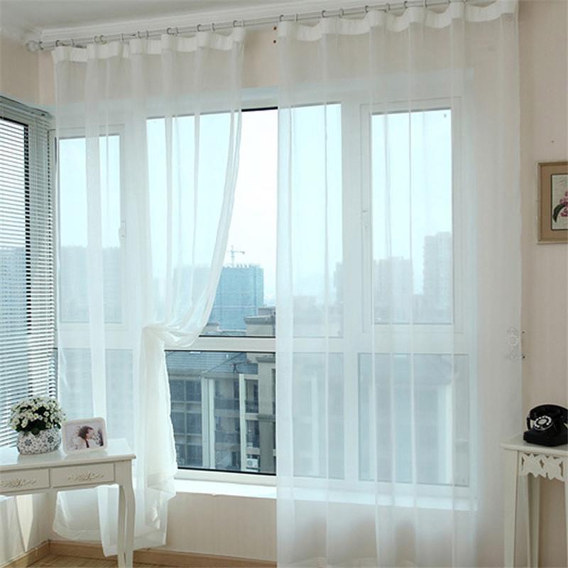1 pair white translucidus tulle window screening sheer
