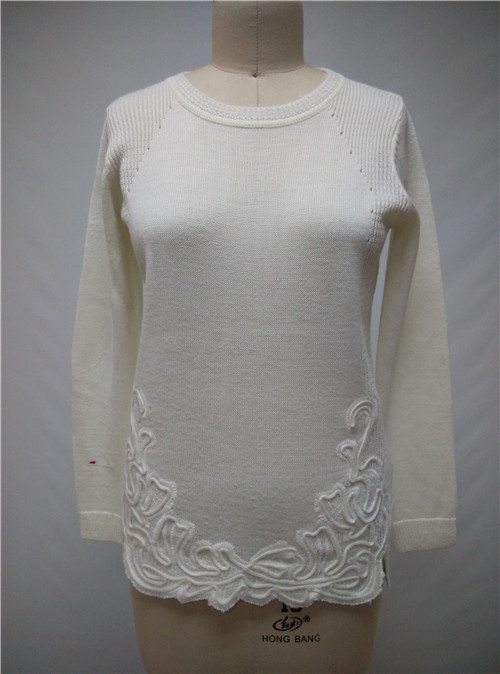 Original Design Women Sweater Pullover With Bottom Embroidery Round Neck Long Sleeve Public Lady Sweaters(Hong Kong)