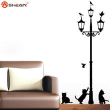 Home Decoration 4 Little Cat Under Street Lamp DIY Wall Sticker Wallpaper Art Decor Mural Room Decal Adesivo De Parede Stickers(China (Mainland))