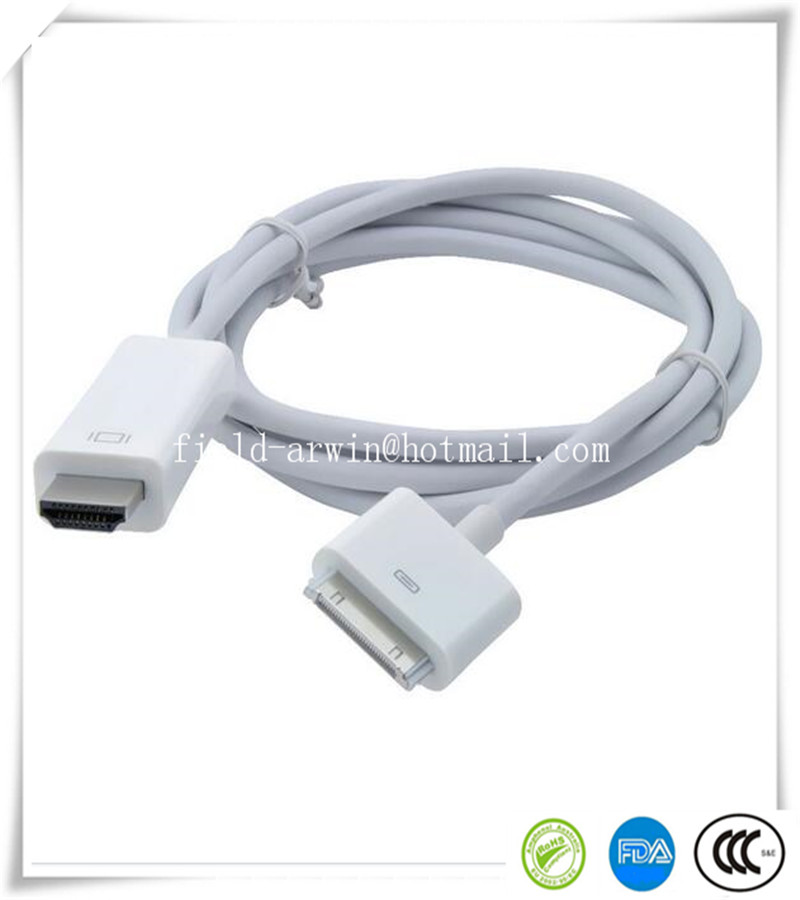 2016 free shipping hdmi splitter white 5pcs/lot 6ft 30 Pin to HDTV HDMI Cable Digital AV Adaptor for Apple iPad 2 3 iPhone 4 4S(China (Mainland))