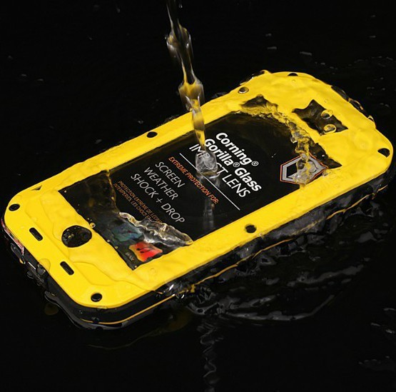 Free shipping !For iphone 4/4S protective shell with three anti- metal version of Mobile Shell waterproof glass(China (Mainland))