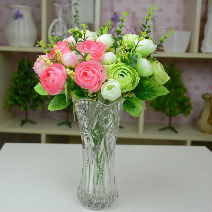 New Festival decor silk artificial flowers Tea Rose fake Thanksgiving decorative flowers(China (Mainland))