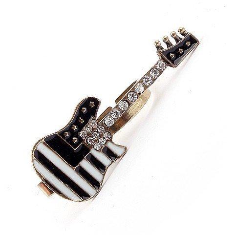 Min.order is $5 (mix order),Free Shipping,Black Guitar Vintage Ring,Imitation Diamond Dual Ring, (R094)