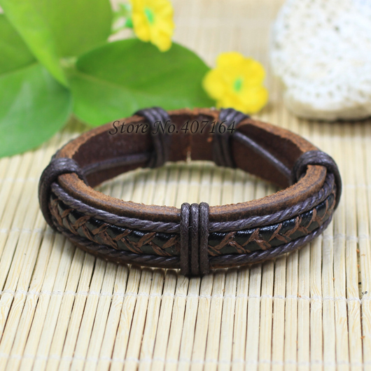 SF203- fashion jewelry handmade wrap genuine leather bracelet Hemp rope women men unisex - SunFlower Trade Co.,Ltd store