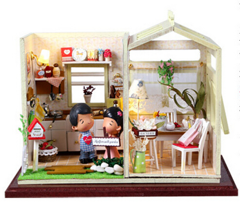 Christmas Gift Doll House Model Building Kits 3D Miniature Light Handmade Wooden Diy Dollhouse Toy Greatkive Gifts-Cozy Kitchen(China (Mainland))