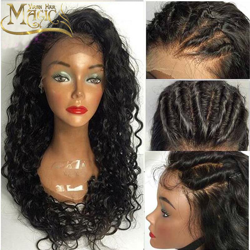 Фотография Full Lace Human Hair Wigs For Black Women Wet And Wavy Brazilian Virgin Hair Lace Front Human Hair Wigs Glueless Full Lace Wigs
