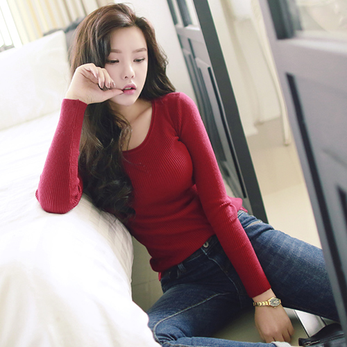 Korean women's sexy low and neck long sleeved Sweater Girl slim slim minimalist color sweater(China (Mainland))