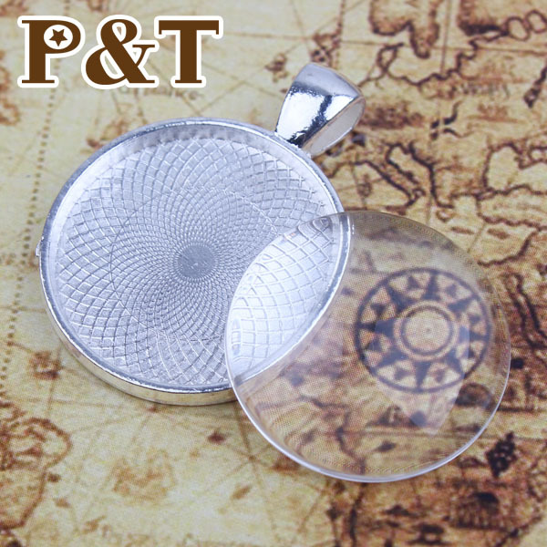 1 inch Pendant Trays + glass cabochon set, Blank Pendant Bases, 25mm Bezel Pendant Settings for Glass or Stickers(China (Mainland))