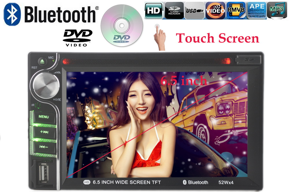 Touch screen  6.5 inch 2 din Car DVD Player Car radio MP4 player support AM FM RDS bluetooth rear view camera 7 languages