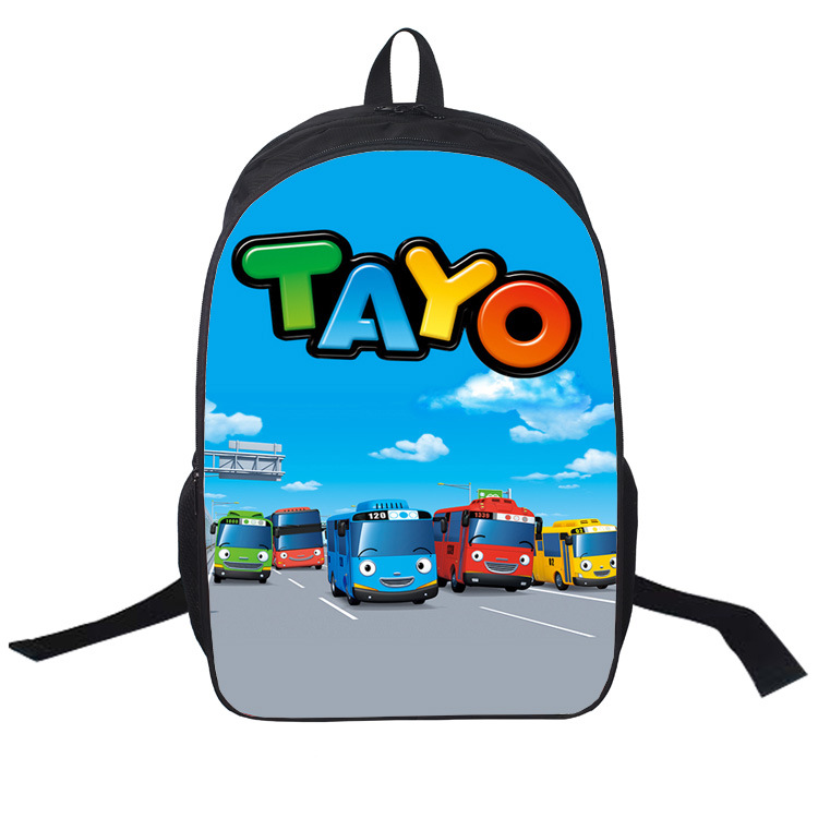 2016 New Arrival Cartoon Backpacks Hot Korea TAYO BUS CAR Children Bags School Bags For Teenagers Girls Boys Bag(China (Mainland))