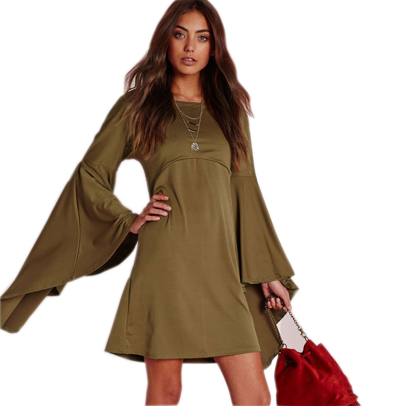 Army Green Flare Sleeve Women Dress 2015 New Elegant Party Bandage Dresses Cheap Discount Retro Red Modcloth Dresses Eunice Lai(China (Mainland))