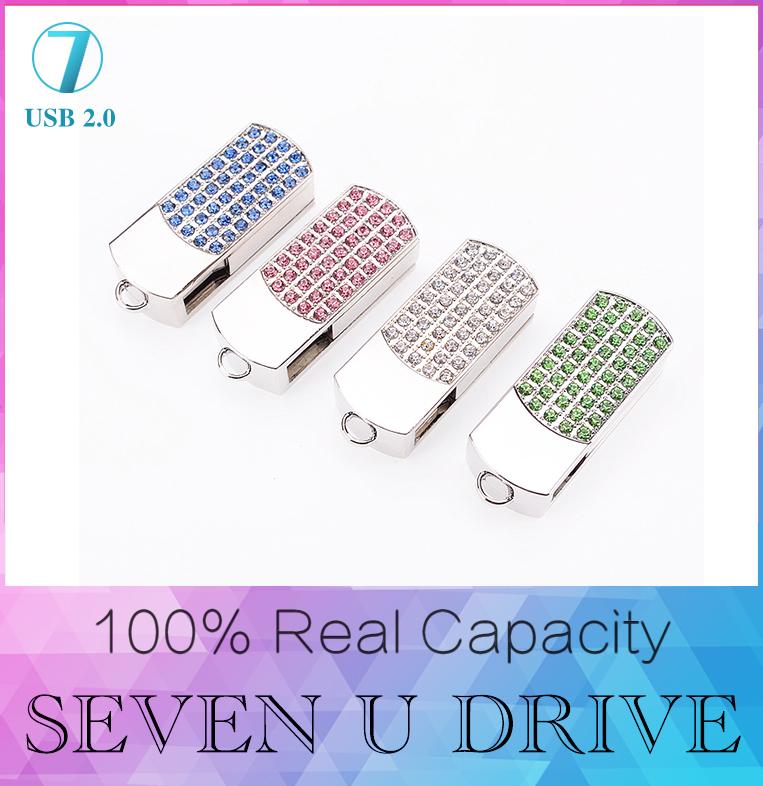 Metal Crystal Stainless steel rotary Key Chain USB 2.0 USB Flash Drive 512GB 8GB 16GB 32GB Memory Stick disk on key Pen drives(China (Mainland))