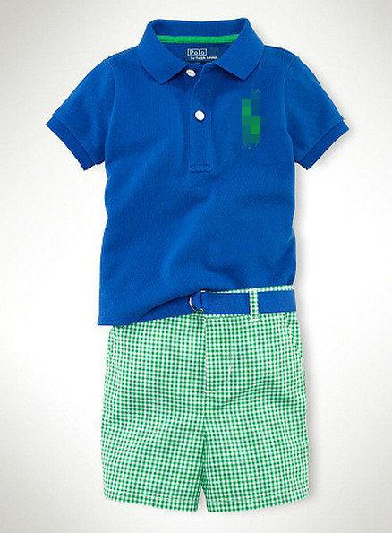 Retail Summer Fashion Boys tracksuits Blue POLO shirt + plaid shorts pants set Kids Casual ...