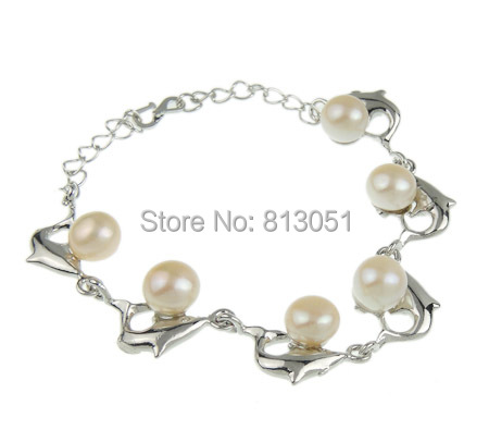 Free shipping!!!Freshwater Cultured Pearl Bracelet,Brand, Freshwater Pearl, with Zinc Alloy, iron S hook clasp, white