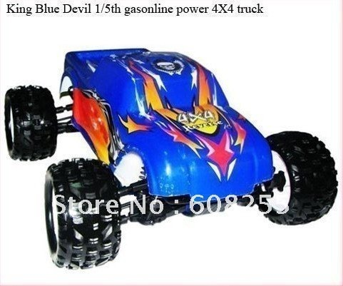 1/5th gas rc car 26cc engine RTR&KIT  4WD Gasoline Monster Truck w/Reverse -King Blue Devil -V3