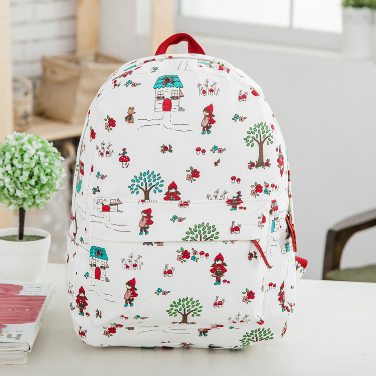 New 2015 New literary female bag Japanese harajuku soft wind's sac backpack sister bag college female female floral morrales(China (Mainland))