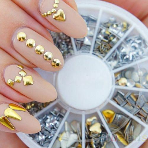 120Pcs Gold / Silver Metal Nail Art Decor Rhinestones Tips Metallic Studs tools sticker 01I7(China (Mainland))