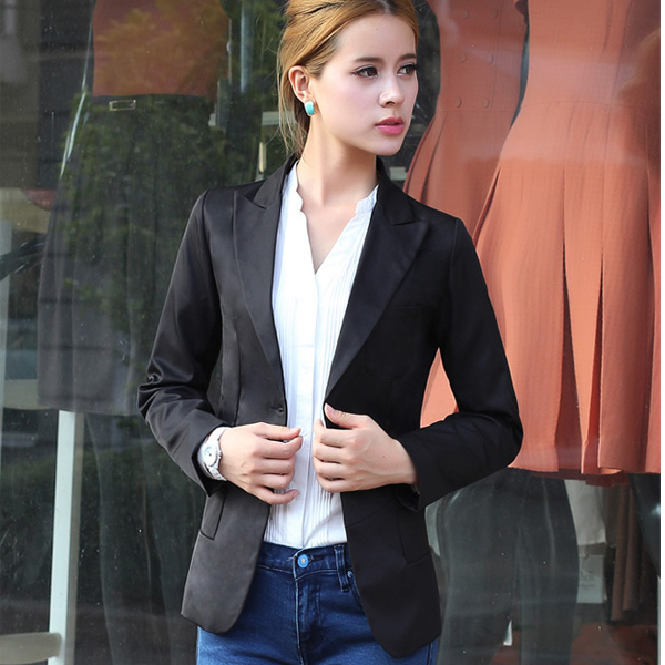 2015 New Korean Style Spring and Autumn Slim Woman Blazer Notched Single Breasted Woman Blazer C0967