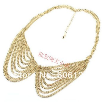 12PCS Hotsale Multi Layers Tassels Chain Necklace Gold Fake Collar Necklace Women Jewelry