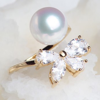 Natural Akoya Pearls Rings Japan Sea Pearl Rings Perfectly Round Seawater Pearl Rings Super Luster Silver Rings Women Jewelry(China (Mainland))