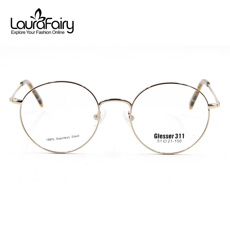 Gold Color Eyeglass Frames : Laura Fairy Classic Retro Round Eyeglasses Frames Women ...