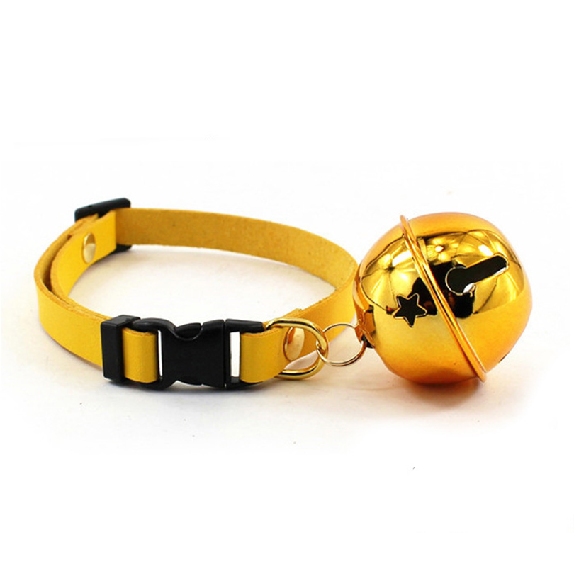 Pet Puppy Cat Durable Adjustable Bell Necklace Collar Pet Dog Leather Collar Buckle Puppy Dog Neck Strap Cat Collar 7 Colors(China (Mainland))