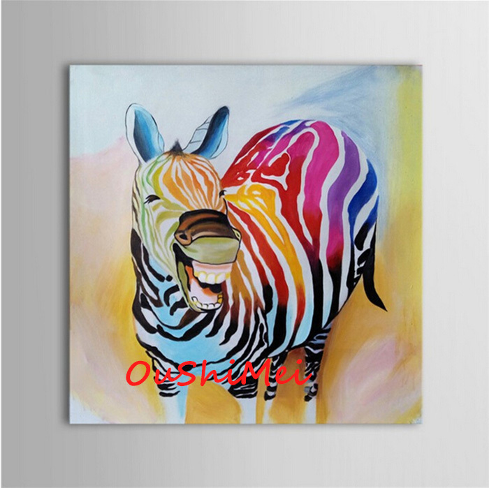Superb Abstract Wall Art For Living Room #2: Hand-Painted-Abstract-Animal-Pictures-Canvas-Art-Oil-Painting-Funny-Colours-Zebra-Wall-Picture-Decor-For.jpg